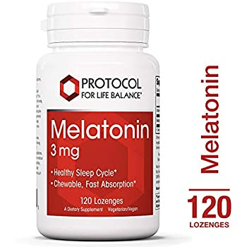 Protocol For Life Balance - Melatonin 3 mg - Chewable with Vitamin B6 for Fast Absorption that Encourages Healthy Sleep and Gastrointestinal Function - 120 ...