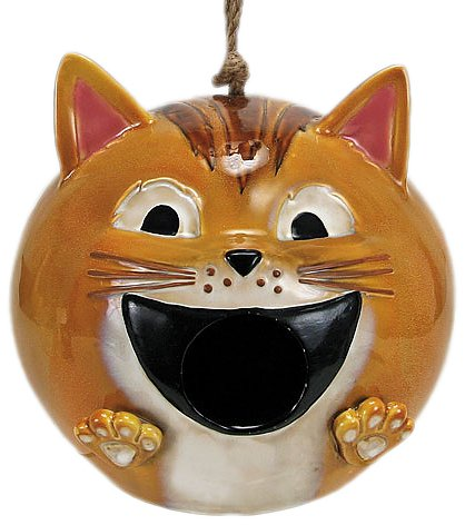 Nature's Garden Cat Bird House, Tan (Whimsical Porcelain Birds)