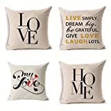 Upersonality Throw Pillow Covers 18 x 18 inch, Cotton Linen Fabric Pillow Case Cushion Cover Home Couch Covers Decoration (Pack of 4) (Love & Home)