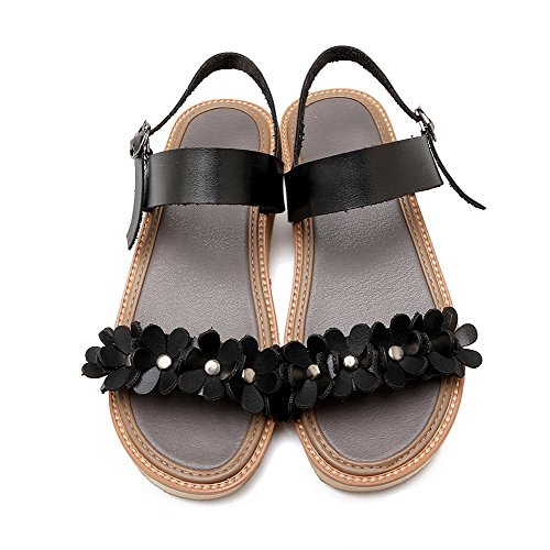 AmoonyFashion Womens Low Heels Solid Buckle Open Toe Sandals Black af8SF6