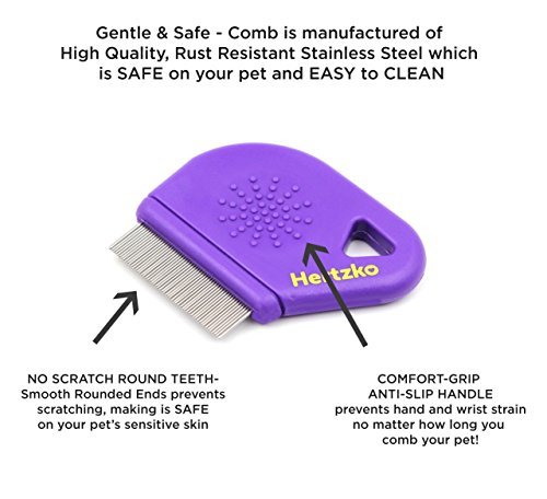 Hertzko Flea Comb By Closely Spaced Metal Pins Removes Fleas, Flea Eggs, And Debris From Your Pet's Coat - 10mm Metal Teeth Are Great For Short Hair Areas - Suitable For Dogs And Cats! by Hertzko (Image #3)
