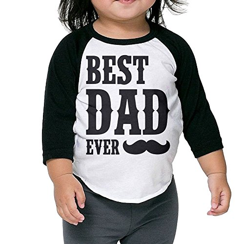 Wons Kid Best Dad Ever Mug Casual Style Kindergarten Black Cute Tee 3 Toddler Crew Neck 1/2 Sleeve Raglan T-Shirt
