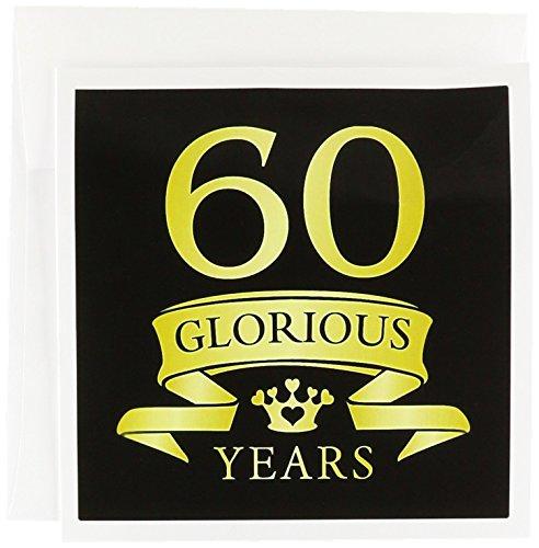 60th Celebration Anniversary, Tonal Yellow on Black - Greeting Card, 6 x 6 inches, single (gc_223314_5)