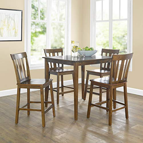 5 Piece Cherry Finish Wood - 5-Piece Durable Wood Construction Mission Style Table and Chairs Set, Medium-Toned Cherry Finish