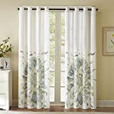 Cheap Madison Park Blue Curtains for Living Room, Casual Curtains for Bedroom, Floral Solange Grommet Window Curtains, 50X84, 1-Panel Pack