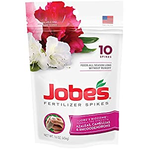 Jobe's Fertilizer Spikes for Azalea, Camellia and Rhododendron, 9-8-7 Time Release Fertilizer for Acid Loving Plants, 10 Spikes per Package