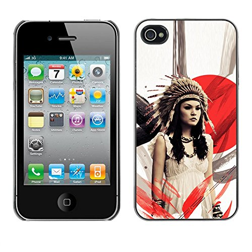 SuperStar // Refroidir image Étui rigide PC Housse de protection Hard Case Protective Cover for iPhone 4 / 4S / Natif American Girl /