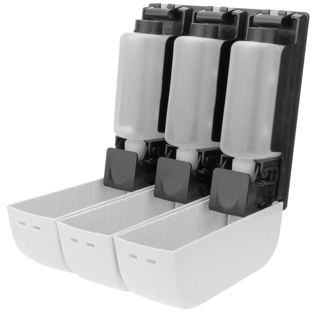 PrimeMatik Dispensador de jab/ón de ducha para pared 3 x deposito recargable