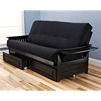 Phoenix Futon in Black with Suede Black Mattress