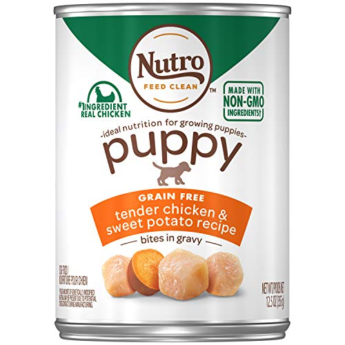 NUTRO PUPPY High Protein Natural Wet Dog Food Bites in Gravy Tender Chicken & Sweet Potato Recipe, (12) 12.5 oz. Cans