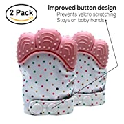 Baby Teething Mittens Soothing Pain Relief Teether with Non-Scratch Button Fastener / Travel Bag 3-12 months Babies Shower Gifts Mitt Silicone Toys by MaBaby (Pink)