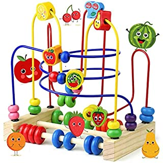 Fajiabao Wooden Bead Maze Activity Cube Colorful Fruits Slide Counting Math Abacus Montessori Toys for Toddlers Roller Coaster Educational Toys Birthday Gifts Indoor Games for Walkers Boys Girls