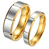 Aooaz Stainless Steel 1 Pair Rings Engagement Rings Wedding Band Gold Silver Rings With Free Engraving Womens 5 & Men 9 Novelty Jewelry Gift