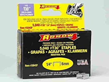 Arrow Fastener 304IP 1//4 T30 Staples