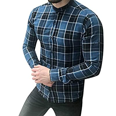 Sunmoot Classic Men's Plaid Dress Shirts Casual Long Sleeve Button Down Stand Collar Lattice Top Blouse