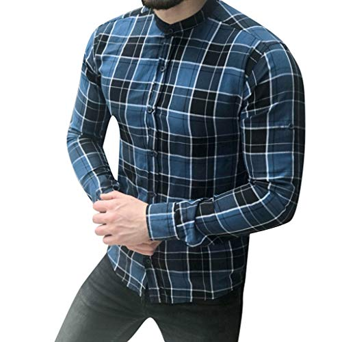 (Sunmoot Classic Men's Plaid Dress Shirts Casual Long Sleeve Button Down Stand Collar Lattice Top Blouse)