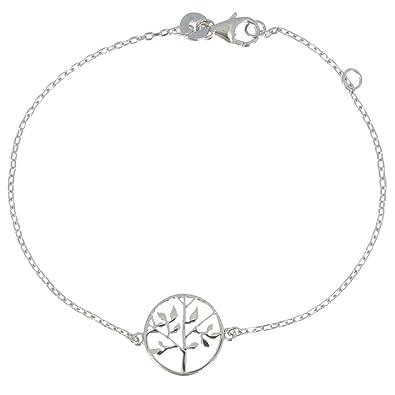 JO WISDOM Women Bracelet,925 Sterling Silver Tree of Life Link Bracelet,20cm