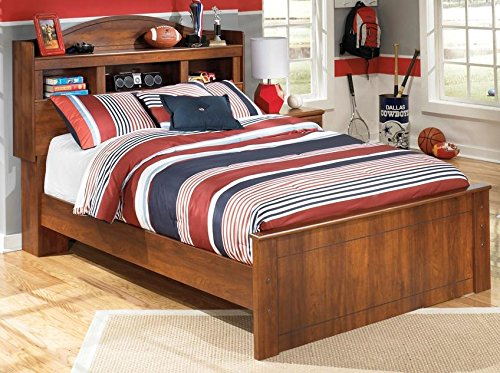 B228658486 Barchan Collection Full Size Bookcase Headboard Panel Bed with Timber Cherry Grain in Warm Brown
