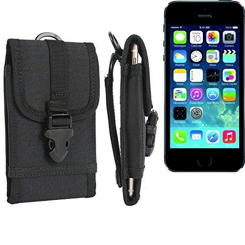 Gürteltasche / Holster für Apple iPhone 5s, schwarz | extrem robuste Handyhülle Smarpthone Schutz Tasche Hülle outdoor / camping case - K-S-Trade(TM)