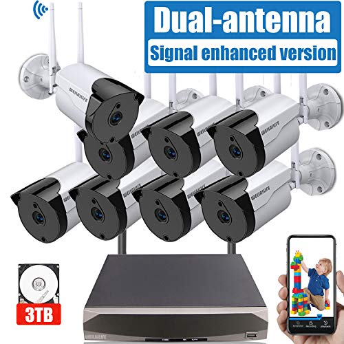 [2019 Signal Enhanced Version] Security Camera System Wireless, 8 Channel Surveillance DVR Recorder and 8Pcs 1080P Home Outdoor Motion Activated IP Bullet Camera with Night Vision, 3TB Hard Drive