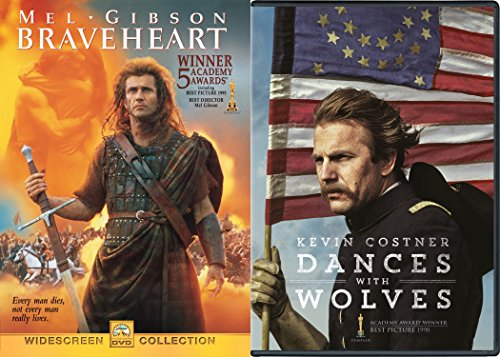 Dances With Wolves (25th Anniversary Edition) + Braveheart DVD 2 Pack Epic Movie Action Set
