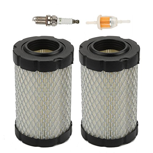 Harbot Pack of 2 Air Filter with Fuel Filter for John Deere MIU14395 D100 D105 D110 D130 Z225 Z235 Z255 X 124 L105 L107 E100 E120 E130 Husqvarna YTA22V46 YTH22V46 YTH24V48 HU800awd Lawn Mower Tractor -