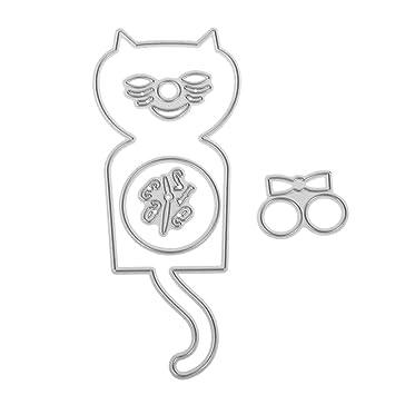 AFFEco 5 piezas reloj gato DIY troquelado plantilla scrapbook repujado tarjeta de regalo de metal molde: Amazon.es: Hogar