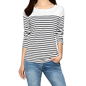 Allegra K Women's Color Block Striped Knit Tops Round Neck Long Sleeves T Shirts