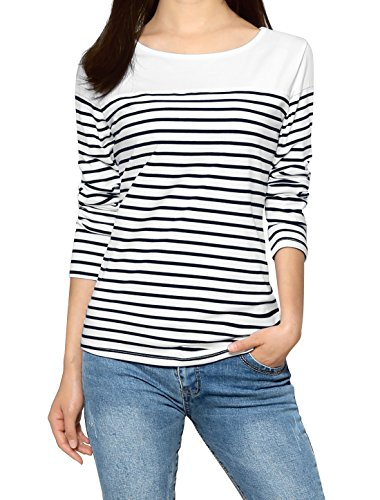 Allegra K Women's Round Neck Long Sleeves Color Block Striped Tops T Shirts Dark Blue L (US 14) ()