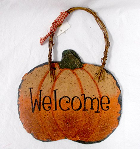 - Orange Black Green Harvest Pumpkin Welcome Slate Decor Sign 11in NIP