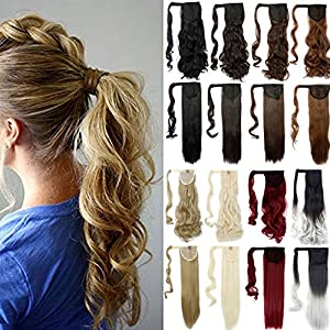 Lelinta 18″ Wavy Curly Wrap Around Ponytail Extension for Woman Synthetic Hair Extension, 18 Inch-Curly, Medium Brown-curly