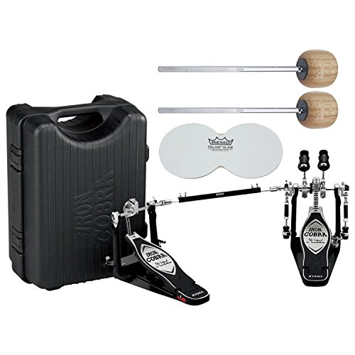 TAMA HP900PWN Iron Cobra 900 Series Power Glide Double Bass Drum Pedal w/ Case, Impact Patches, and Extra Wood Beaters