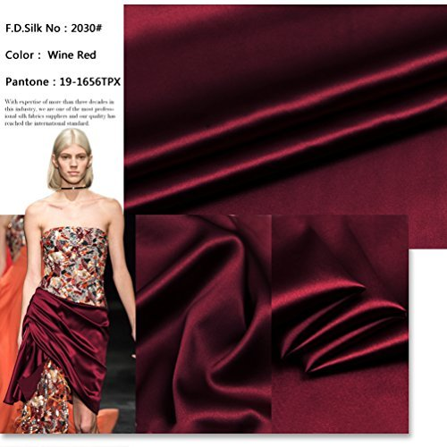 100% 16mm Wine Red Silk Charmeuse Fabric By the Yard, 48 Colors, Wine Red SZD1630 , F.D.SILK ()