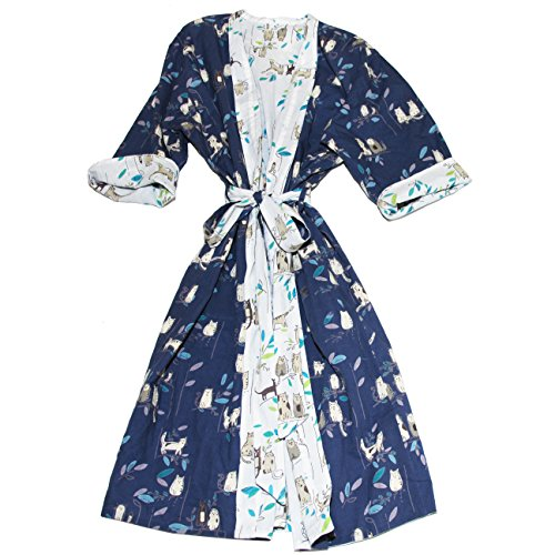 Art Studio Company Reversible Cat Print Cotton Robe Long Cat Robe