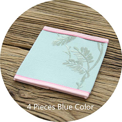 love enjoy Table Placemat Tea Cup Pad Coaster Drink Cover Linen Cotton Pink Butterfly Flora Embroidery Romantic Decoration 4PCS,4 Pieces Blue Color - G-force Table Cover