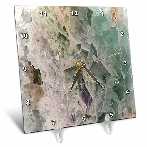 3dRose Image of Close up of Green and Ivory Agate Desk Clock, 6 x 6