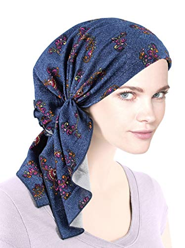 Denim Belle - The Bella Scarf Chemo Turban Head Scarves Pre-Tied Bandana for Cancer Denim Swirl Floral Multi