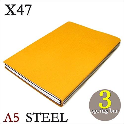 X47 STEEL 本革 A5 イエロー 3本バー ドイツ製 ノートブック 横罫無地方眼 ノートセット   B06XKSRQ4J