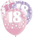 "12"" Glitz Pink Latex 18th Birthday Balloons, Pack of 6"