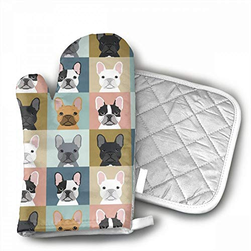 French Bulldog Pattern Oven Mitts,Professional Heat Resistan