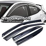 Ediors 03-07 Honda Accord 4Dr - JDM Ventshade Sedan Mugen Style Tape Front Rear Dark Smoke Tint Sun Rain Window Visors Deflector