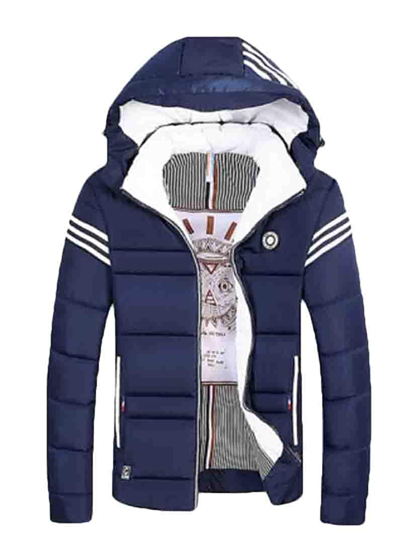 GRMO Men Large Size Zip-Up Thickened Hooded Juniors Puffer Coat