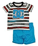 DC Shoes Co Baby Boys' Stripes Tee with Shorts, Blue Assorted, 12 Months