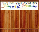 CakeSupplyShop Item#062RPB Happy 62nd Birthday Rainbow Wall Decoration Indoor/OutDoor Party Banner (10 x 50inches)