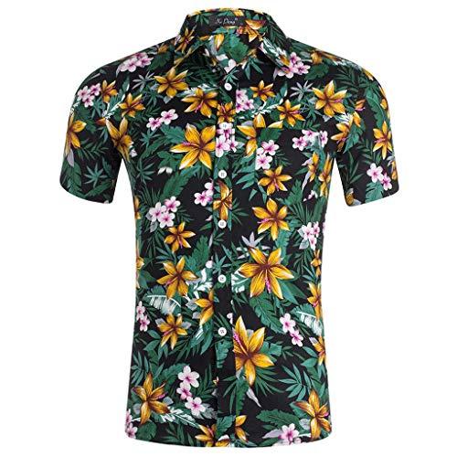 (Mens Floral Shirts, Mens Tropical Shirts Short Sleeve Casual Loose Fashion Shirts Tops(Yellow, S))
