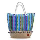 Large Beach Bag Tote perfect summer bag Blue Beach bags and totes canvas bag