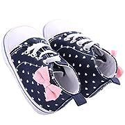 WAYLONGPLUS Infant Canvas Soft Sole Anti-Slip Prewalker Toddler Crib Shoes Love Print Sneaker (White Size 13)