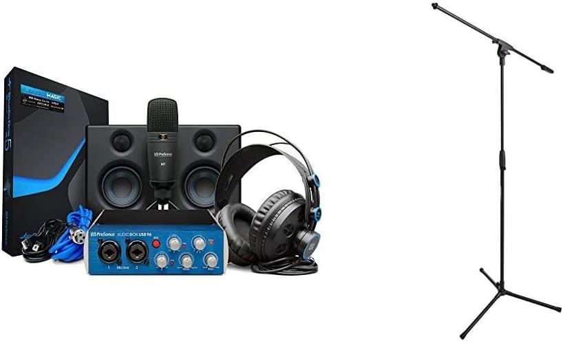 PreSonus AudioBox Studio Ultimate Bundle Complete Hardware/Software Recording Kit with Studio Monitors,Blue & Amazon Basics Tripod Boom Microphone Stand