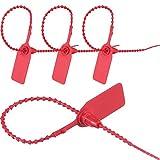 Patelai 200 Pack Red Security Seal Pull Tie Tags Plastic Secure Anti-Tamper Seals