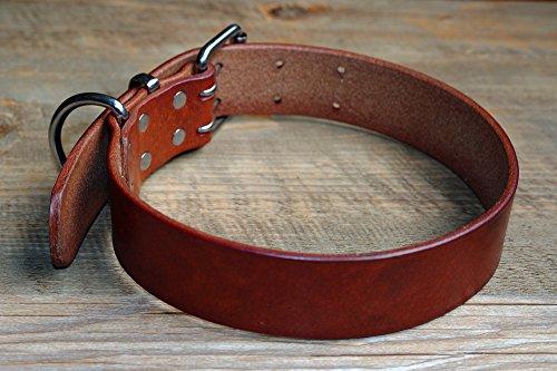 Plain Cowhide Genuine Leather Pet Dog Collars Heavy Duty Deep Brown Size XS S M L XL XXL